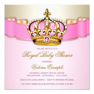 """Fiesta de bienvenida al bebé real del oro rosado invitación 5.25"""" x 5.25"""""""