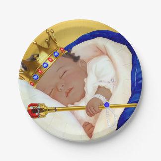Fiesta de bienvenida al bebé real étnica de platos de papel