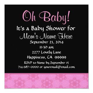 """Fiesta de bienvenida al bebé rechoncha rosada de invitación 5.25"""" x 5.25"""""""