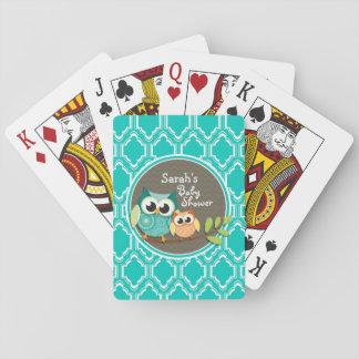 Fiesta de bienvenida al bebé retra de los búhos de barajas de cartas