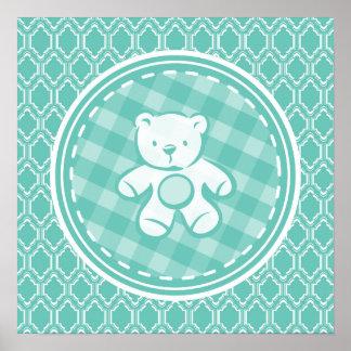 Fiesta de bienvenida al bebé retra del oso de posters