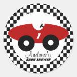 Fiesta de bienvenida al bebé roja del coche de pegatina redonda
