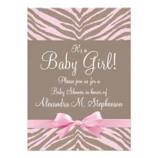 Fiesta de bienvenida al bebé rosa clara y de Brown Anuncios Personalizados