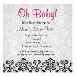 Fiesta de bienvenida al bebé rosada blanca negra l invitaciones personales