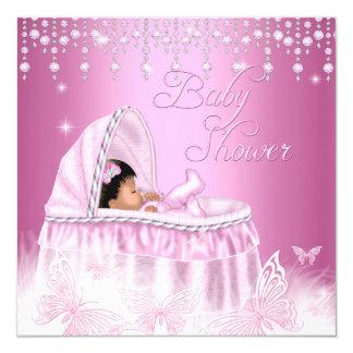 """Fiesta de bienvenida al bebé rosada bonita de la invitación 5.25"""" x 5.25"""""""