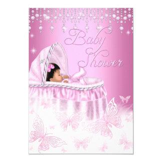 """Fiesta de bienvenida al bebé rosada bonita de la invitación 5"""" x 7"""""""