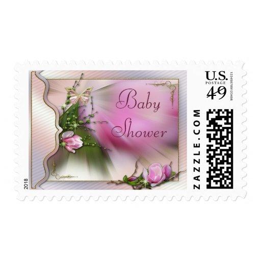 Fiesta de bienvenida al bebé rosada bonita de la franqueo