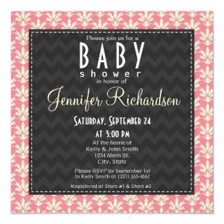 Fiesta de bienvenida al bebé rosada cuadrada linda comunicado