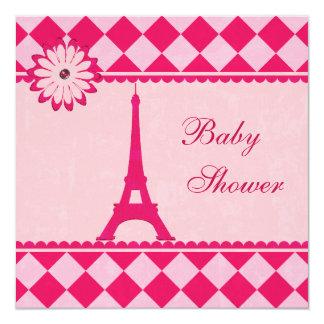 """Fiesta de bienvenida al bebé rosada de Argyle de Invitación 5.25"""" X 5.25"""""""