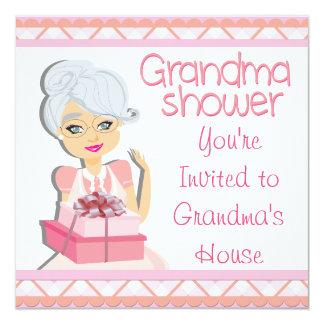 """Fiesta de bienvenida al bebé rosada de la abuela invitación 5.25"""" x 5.25"""""""