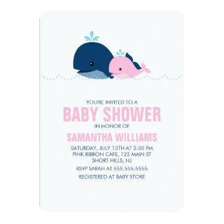 """Fiesta de bienvenida al bebé rosada de la ballena invitación 5"""" x 7"""""""