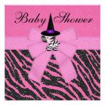 Fiesta de bienvenida al bebé rosada de la cebra y  anuncios personalizados