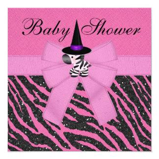 Fiesta de bienvenida al bebé rosada de la cebra y invitación 13,3 cm x 13,3cm