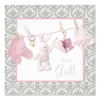 Fiesta de bienvenida al bebé rosada de la cuerda anuncios personalizados