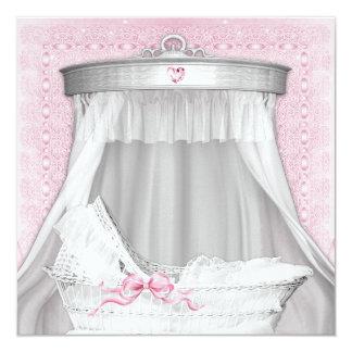 Fiesta de bienvenida al bebé rosada de la cuna anuncios