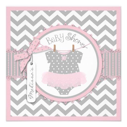 Fiesta de bienvenida al bebé rosada de la impresió invitaciones personalizada