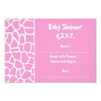 """Fiesta de bienvenida al bebé rosada de la jirafa invitación 3.5"""" x 5"""""""