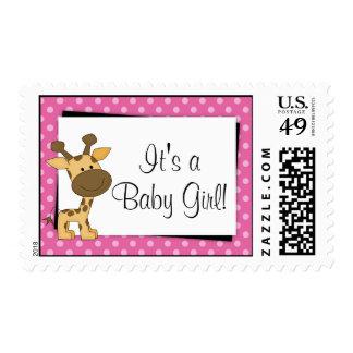 Fiesta de bienvenida al bebé rosada de la jirafa envio