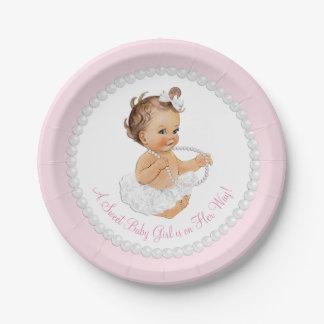 Fiesta de bienvenida al bebé rosada de la plato de papel de 7 pulgadas