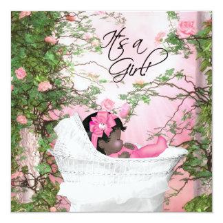 Fiesta de bienvenida al bebé rosada de la rosaleda invitación 13,3 cm x 13,3cm