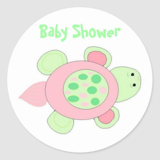 Fiesta de bienvenida al bebé rosada de la tortuga pegatina redonda