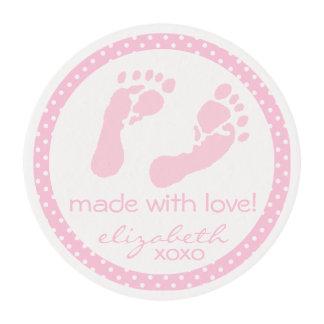 Fiesta de bienvenida al bebé rosada de las huellas láminas de glaseado redondas