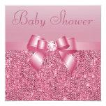 Fiesta de bienvenida al bebé rosada de las invitaciones personales