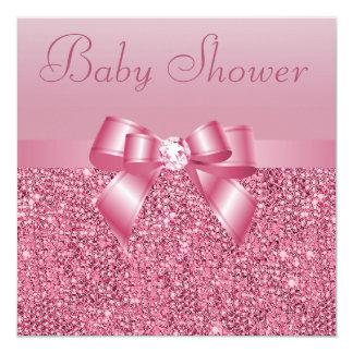 Fiesta de bienvenida al bebé rosada de las invitación 13,3 cm x 13,3cm