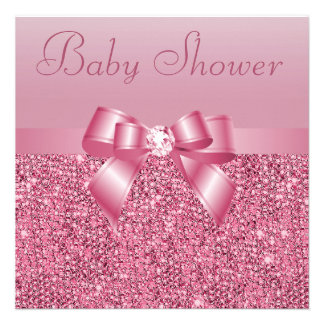 Fiesta de bienvenida al bebé rosada de las lenteju invitaciones personales