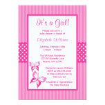 Fiesta de bienvenida al bebé rosada de las rayas y invitación 12,7 x 17,8 cm
