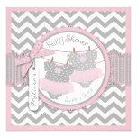 Fiesta de bienvenida al bebé rosada de los tutúes  invitación personalizada