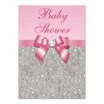 Fiesta de bienvenida al bebé rosada de plata de comunicado personal