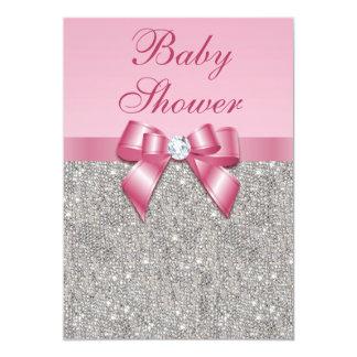 Fiesta de bienvenida al bebé rosada de plata de invitación 12,7 x 17,8 cm
