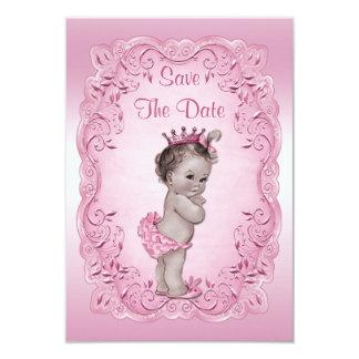 Fiesta de bienvenida al bebé rosada de princesa invitación 8,9 x 12,7 cm