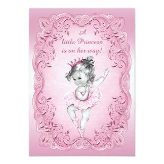 Fiesta de bienvenida al bebé rosada de princesa invitación personalizada