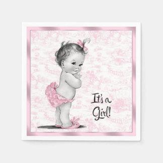 Fiesta de bienvenida al bebé rosada de Toile Servilleta Desechable