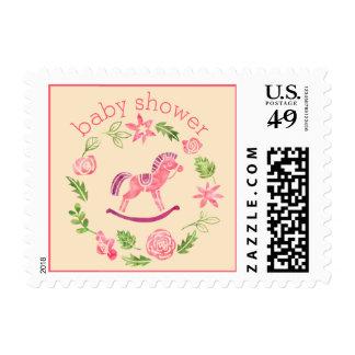 Fiesta de bienvenida al bebé rosada del caballo sello postal