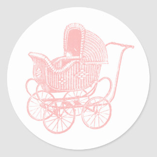 Fiesta de bienvenida al bebé rosada del carro de pegatina redonda