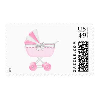 Fiesta de bienvenida al bebé rosada del carro de sellos