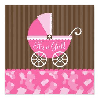 Fiesta de bienvenida al bebé rosada del chica de comunicados personales
