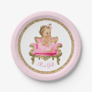 Fiesta de bienvenida al bebé rosada del chica de plato de papel de 7 pulgadas