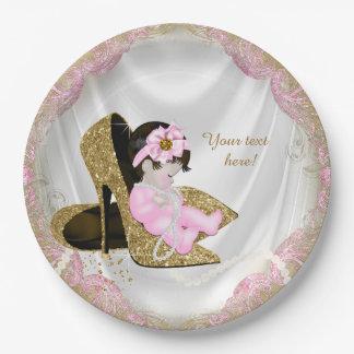 Fiesta de bienvenida al bebé rosada del chica de plato de papel de 9 pulgadas