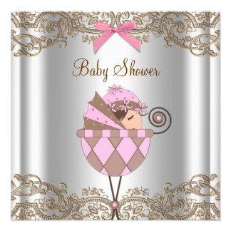Fiesta de bienvenida al bebé rosada del chica del comunicados personales