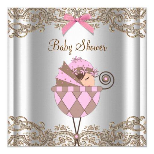 """Fiesta de bienvenida al bebé rosada del chica del invitación 5.25"""" x 5.25"""""""