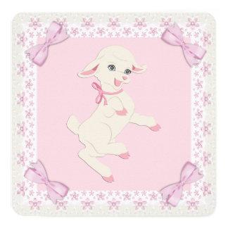 Fiesta de bienvenida al bebé rosada del cordero comunicados