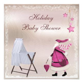 Fiesta de bienvenida al bebé rosada del día de fie comunicado personalizado