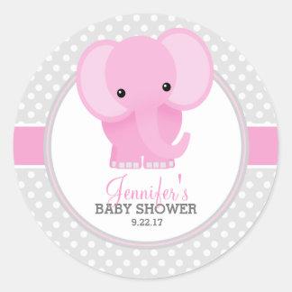 Fiesta de bienvenida al bebé (rosada) del elefante pegatina redonda