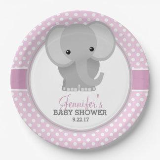Fiesta de bienvenida al bebé (rosada) del elefante plato de papel de 9 pulgadas