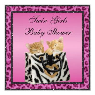 Fiesta de bienvenida al bebé rosada del estampado comunicado personalizado