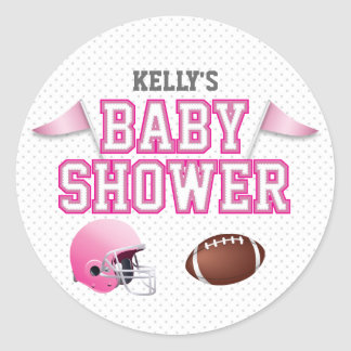 Fiesta de bienvenida al bebé rosada del fútbol etiquetas redondas
